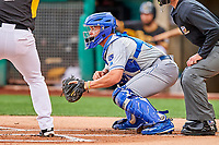 Parker Morin (16) of the Omaha Storm Chasers behind the plate during the game against the Salt Lake Bees in Pacific Coast League action at Smith's Ballpark on May 8, 2017 in Salt Lake City, Utah. Salt Lake defeated Omaha 5-3. (Stephen Smith/Four Seam Images)