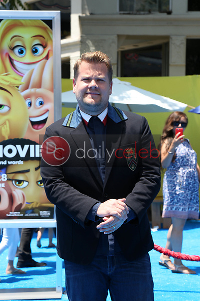 """James Corden<br /> at the premiere of """"The Emoji Movie,"""" Village Theater, Westwood, CA 07-23-17<br /> David Edwards/DailyCeleb.com 818-249-4998"""