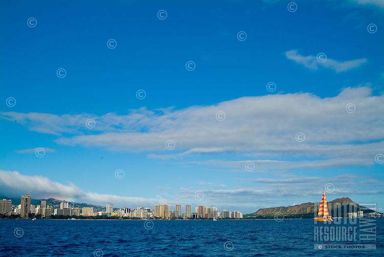 Wide angled shot of the Waikiki coastline from downtown Honolulu to Diamond Head shot from a sailboat off Waikiki.