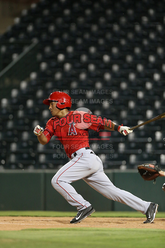 Jahmai Jones (22) of the AZL Angels bats during a game against the AZL Giants at Tempe Diablo Stadium on July 6, 2015 in Tempe, Arizona. Angels defeated Giants, 3-1. (Larry Goren/Four Seam Images)
