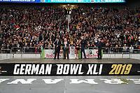 Pokale stehen bereit - 12.10.2019: German Bowl XLI Braunschweig Lions vs. Schwäbisch Hall Unicorns, Commerzbank Arena Frankfurt