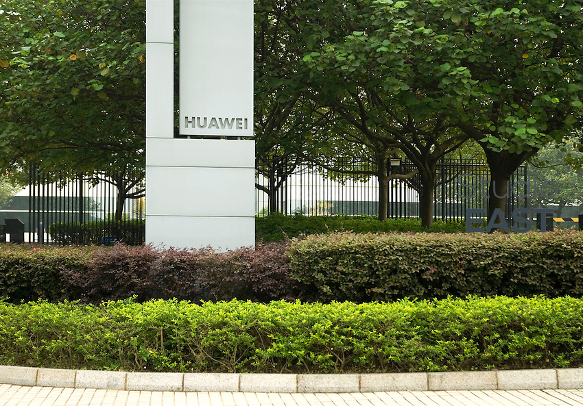 Huawei's name stands in Huawei's Bantian Longgang campus, outside Shenzhen, Guangdong province, China, on April 26, 2008. With more than 30,000 employees in its campus of Bantian Longgang, Shenzhen, HuaWei Technologies is a leader in telecommunications networks. Photo by Vincent Assante Di Cupillo/Pictobank