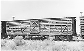 Side view of D&amp;RGW stock car #5950 at Alamosa.<br /> D&amp;RGW  Alamosa, CO  Taken by Maxwell, John W. - 7/7/1956