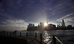 Scenes of the Brooklyn Bridge looking over the East River into Manhatan from Brooklyn