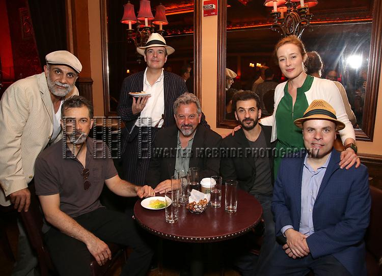 Anthony Azizi, Dariush Kashani, Jefferson Mays, Jeff Still, Michael Aronov, and Jennifer Ehle and J.T. Rogers attend the 2017 New York Drama Critics' Circle Awards Reception at Feinstein's / 54 Below on 5/18/2017 in New York City.