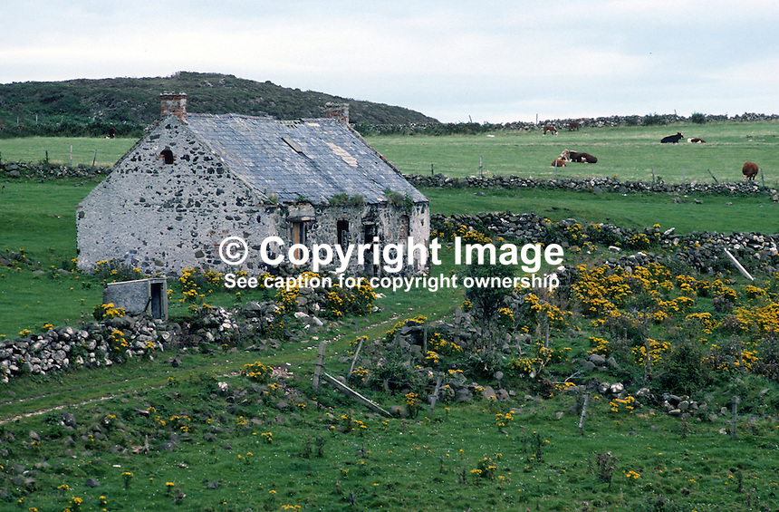 Deserted cottage, Rathlin Island, Co Antrim, N Ireland, UK. 197809000241e..Copyright Image from Victor Patterson, 54 Dorchester Park, Belfast, United Kingdom, UK...For my Terms and Conditions of Use go to http://www.victorpatterson.com/Victor_Patterson/Terms_%26_Conditions.html