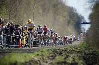Sep Vanmarcke (BEL/LottoNL-Jumbo) steaming through the infamous Trouée d'Arenberg / Wallers Forest (2.4km)<br /> <br /> 114th Paris-Roubaix 2016
