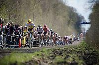 Sep Vanmarcke (BEL/LottoNL-Jumbo) steaming through the infamous Trou&eacute;e d'Arenberg / Wallers Forest (2.4km)<br /> <br /> 114th Paris-Roubaix 2016