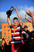 Counties captain Jamie Orr celebrates winning the Jock Hobbs Memorial Under-19 Rugby Tournament Michael Jones Trophy championship final between Counties Manukau and Southland at Owen Delany Park in Taupo, New Zealand on Saturday, 16 September 2012. Photo: Dave Lintott / lintottphoto.co.nz