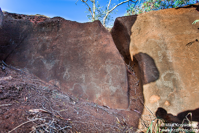 Hawaiian petroglyphs on a large cliff boulder, Waipahu, Oahu