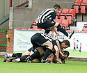 PARS PLAYERS CELEBRATES DUNFERMLINE'S EQUALISER