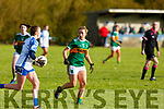 Kerrry's Niamh Carmody keeps an eye on Karen McGrath of  Waterford in the LGFA National football league in Strand Road on Saturday.