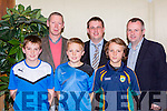 New Kerry manager Ciaran Carey at the South Kerry Hurling awards in the Plaza Hotel on Friday night l-r: Cormac rowe, Cameron Rowe, Caoilte O Cróinín. back: Ciaran Carey, Eoin Casey and tom Keane