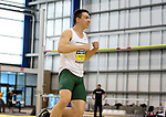 BROOKINGS, SD - FEBRUARY 24:  Tony Ukkelborg from North Dakota State University pumps his fist after clearing the bar during the men's high jump portion of the Heptaltathon Friday afternoon at the Summit League Indoor Championships in Brookings, SD. (Photo by Dave Eggen/Inertia)