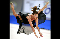 September 23, 2007; Patras, Greece;  Eleni Andriola of Greece straddle jumps during gala exhibition at 2007 World Championships Patras.  Photo by Tom Theobald.