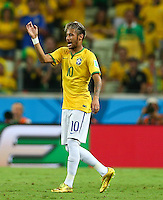 Neymar of Brazil gestures in frustration