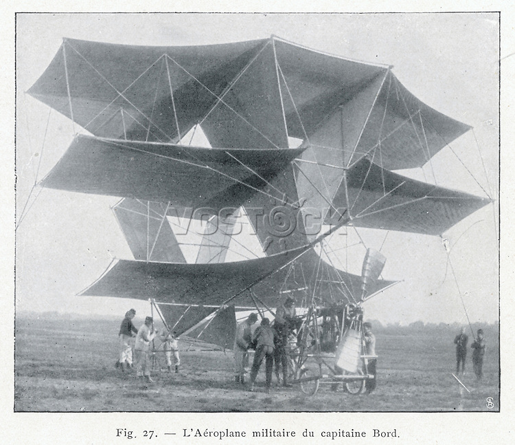 (also known as Capitaine Bord's project) - a brave attempt at maximising lift M. Dorand's multiplane is one of many projects of this era which never leave the ground.     Date: 1908 - 1909     Source: Unnamed photographer in 'Transformateurs d'energie' volume one page 148