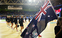 30.08.2017 Silver Ferns in action during the Quad Series netball match between the Silver Ferns and England at the Trusts Arena in Auckland. Mandatory Photo Credit ©Michael Bradley.