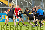 Pa Kilkenny Glenbeigh in action against Kevin Gibbons Louisburgh in the AIB GAA Football Junior All Ireland Club Championship Semi Final in Ennis on Sunday.