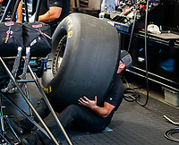 Jul 28, 2019; Sonoma, CA, USA; Crew member for NHRA top fuel driver Mike Salinas during the Sonoma Nationals at Sonoma Raceway. Mandatory Credit: Mark J. Rebilas-USA TODAY Sports