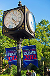 "Oct. 11, 2012 - Hempstead, New York, U.S. - Debate 2012 banners, here under clocks on post, are throughout Hofstra University campus. ""Debate 2012 Pride Politics and Policy"" is a series of events leading up to when Hofstra hosts the 2nd Presidential Debate between Obama and M. Romney, on October 16, 2012, in a Town Meeting format."