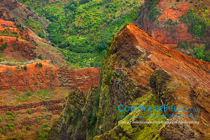 "Waimea River and Waimea Canyon, the ""Grand Canyon of the Pacific"", approximately one mile wide and ten miles long, more than 3,500 feet deep, State Park, Kauai, Hawaii"