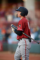 Altoona Curve Mitchell Tolman (19) during an Eastern League game against the Erie SeaWolves on June 3, 2019 at UPMC Park in Erie, Pennsylvania.  Altoona defeated Erie 9-8.  (Mike Janes/Four Seam Images)