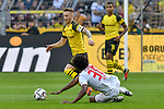 06.10.2018, Signal Iduna Park, Dortmund, GER, DFL, BL, Borussia Dortmund vs FC Augsburg, DFL regulations prohibit any use of photographs as image sequences and/or quasi-video<br /> <br /> im Bild v. li. im Zweikampf Marco Reus (#11, Borussia Dortmund) Caiuby (#30, FC Augsburg)<br /> <br /> Foto &copy; nph/Horst Mauelshagen