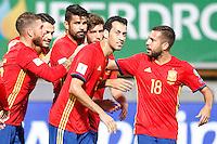 Spain's Sergio Ramos, Vitolo, Diego Costa, Sergi Roberto, Sergio Busquets and Jordi Alba celebrate goal during FIFA World Cup 2018 Qualifying Round match. September 5,2016.(ALTERPHOTOS/Acero)