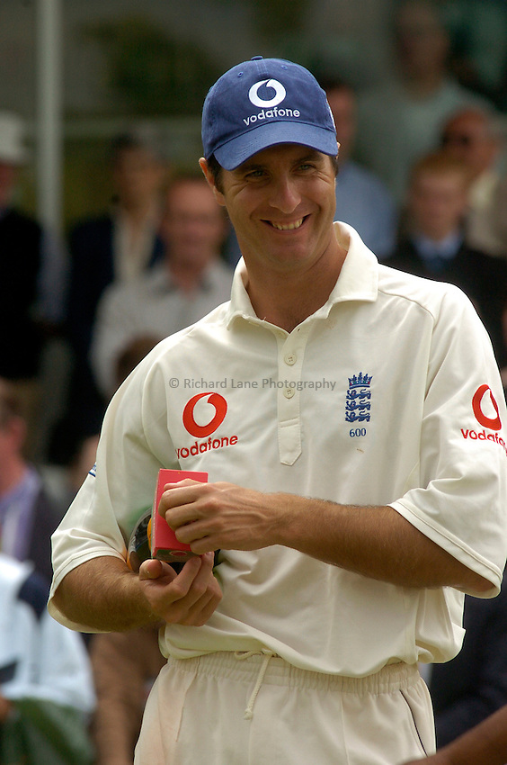 Photo. Glyn Thomas. .England v West Indies. First Test, nPower Test Series..Day 5. 26/07/2004..Michael Vaughan is all smiles after his side's victory.