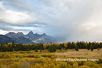 67545-09701 Fall color and Grand Teton Mountain Range from Blacktail Falls Overlook, Grand Teton National Park, WY