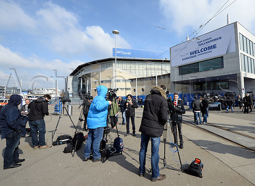 Members of the media stand outside the Hallenstadion during the Extraordinary FIFA Congress 2016 in Zurich, Switzerland, 26 February 2016. The Extraordinary FIFA Congress is being held in order to vote on the proposals for amendments to the FIFA Statutes and choose the new FIFA President.