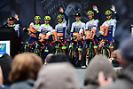 Wanty-Gobert Cycling Team best team on after yesterday's stage at sign on for Stage 2 of the Criterium du Dauphine 2019, running 180km from Mauriac to Craponne-sur-Arzon, France. 9th June 2019<br /> Picture: ASO/Alex Broadway | Cyclefile<br /> All photos usage must carry mandatory copyright credit (© Cyclefile | ASO/Alex Broadway)