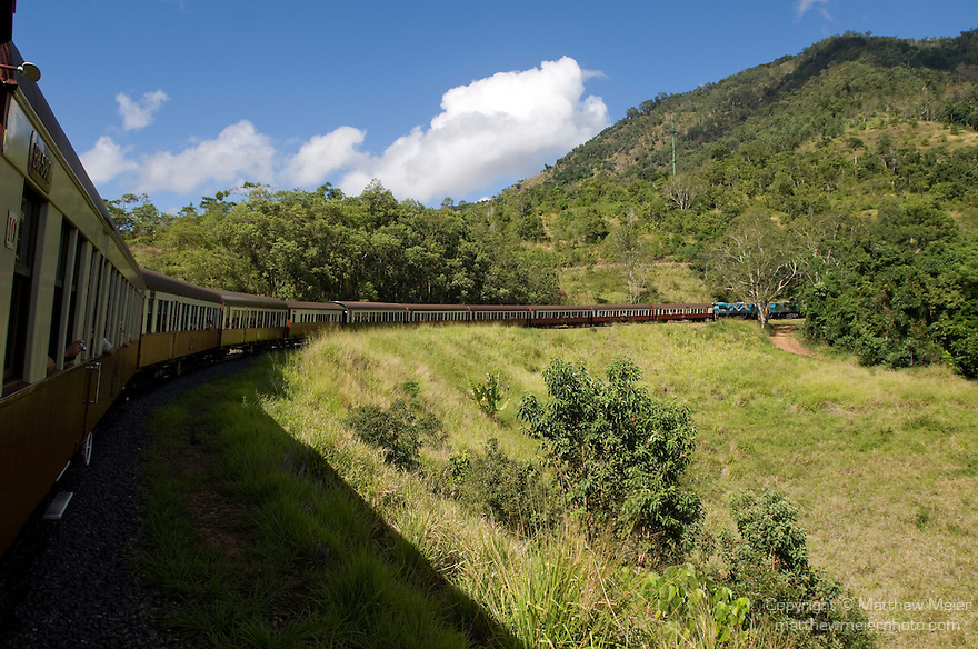 Queensland, Australia; view of the train as the track turns it's way from Cairns to Kuranda, onboard the Kuranda Scenic Railway , © Matthew Meier, matthewmeierphoto.com All Rights Reserved