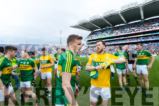 Denis Daly and Brendan Kealy Kerry players celebrate after defeating Dublin at the National League Final in Croke Park on Sunday.