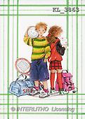 Interlitho, Emilia, TEENAGERS, paintings, girl, boy, ball, tennis(KL3863,#J#) Jugendliche, jóvenes, illustrations, pinturas ,everyday