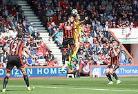 Bournemouth's Steve Cook and Burnley's Sam Vokes battle for the header<br /> <br /> Photographer Ian Cook/CameraSport<br /> <br /> The Premier League - Bournemouth v Burnley - Saturday 13th May 2017 - Vitality Stadium - Bournemouth<br /> <br /> World Copyright &copy; 2017 CameraSport. All rights reserved. 43 Linden Ave. Countesthorpe. Leicester. England. LE8 5PG - Tel: +44 (0) 116 277 4147 - admin@camerasport.com - www.camerasport.com