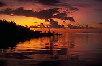 Sunset on Florida Bay, Gulf of Mexico, Florida Keys. Key Largo, Florida.