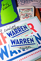 Campaign signs and stickers signed by Democratic presidential candidate and Massachusetts senator Elizabeth Warren are seen in the NH State House Visitors Center after she filed paperwork to get on the primary ballot at the NH State House in Concord, New Hampshire, on Wed., November 13, 2019. Warren also held a small rally outside the State House after filing her paperwork. The Visitors Center collects signed campaign materials from presidential candidates that visit the State House and they have an archive of signed posters and stickers going back decades.