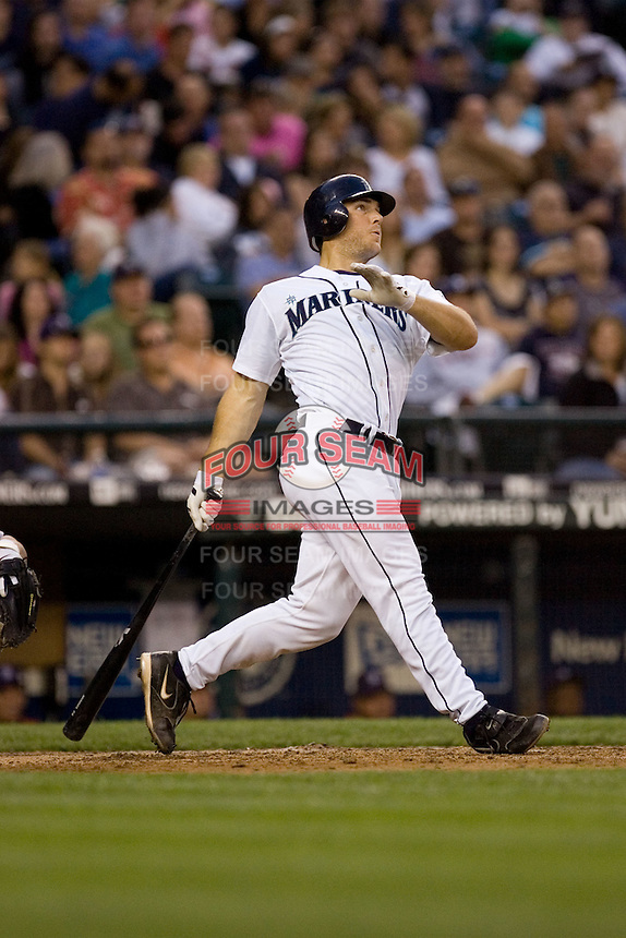 July 5, 2008:  Seattle Mariners rookie Jeff Clement connects for a home run against the Detroit Tigers at Safeco Field in Seattle.  Clement had two homers and knocked in all three of Seattle's runs in the 3-2 win.