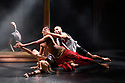 "Eastleigh, UK. 21.09.2017. The company rehearses Shobana Jeyasingh Dance's ""Bayadere: The Ninth Life"", at The Point, Eastleigh, prior to commencing a tour which includes The Lowry, Salford, and Sadler's Wells, London. The dancers are: Avatara Ayuso, Carmine De Amicis, Fabio Dolce, Sunbee Han, Bryony Harrison, Andre Kamienski, Noora Kela, Ingvild Krogstad, Sooraj Subramaniam, Jack Thomson, Adi Chugh (actor). The work is choreographed and directed by Shobana Jeyasingh, with set and costume design by Tom Piper, and lighting design by Fabiana Piccioli. Photograph © Jane Hobson."