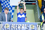 Delighted Templenoe captain Brian Crowley lifts the Intermediate Cup having defeated An Ghaeltacht in the Intermediate Club football championship final on Sunday