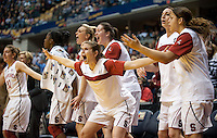 INDIANAPOLIS, IN - APRIL 3, 2011: Sara James reacts after a score in the last seconds during the NCAA Final Four against Texas A&M at Conseco Fieldhouse  in Indianapolis, IN on April 1, 2011.