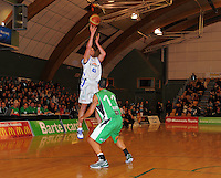 Saints forward Casey Frank attempts a three-pointer. NBL  - Manawatu Jets  v Wellington Saints at Arena Manawatu, Palmerston North, New Zealand on Friday 17 June 2011. Photo: Dave Lintott / lintottphoto.co.nz