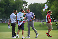 Corey Conners (CAN) shakes hands with Emiliano Grillo (ARG) on 18 following round 4 of the Fort Worth Invitational, The Colonial, at Fort Worth, Texas, USA. 5/27/2018.<br /> Picture: Golffile | Ken Murray<br /> <br /> All photo usage must carry mandatory copyright credit (© Golffile | Ken Murray)