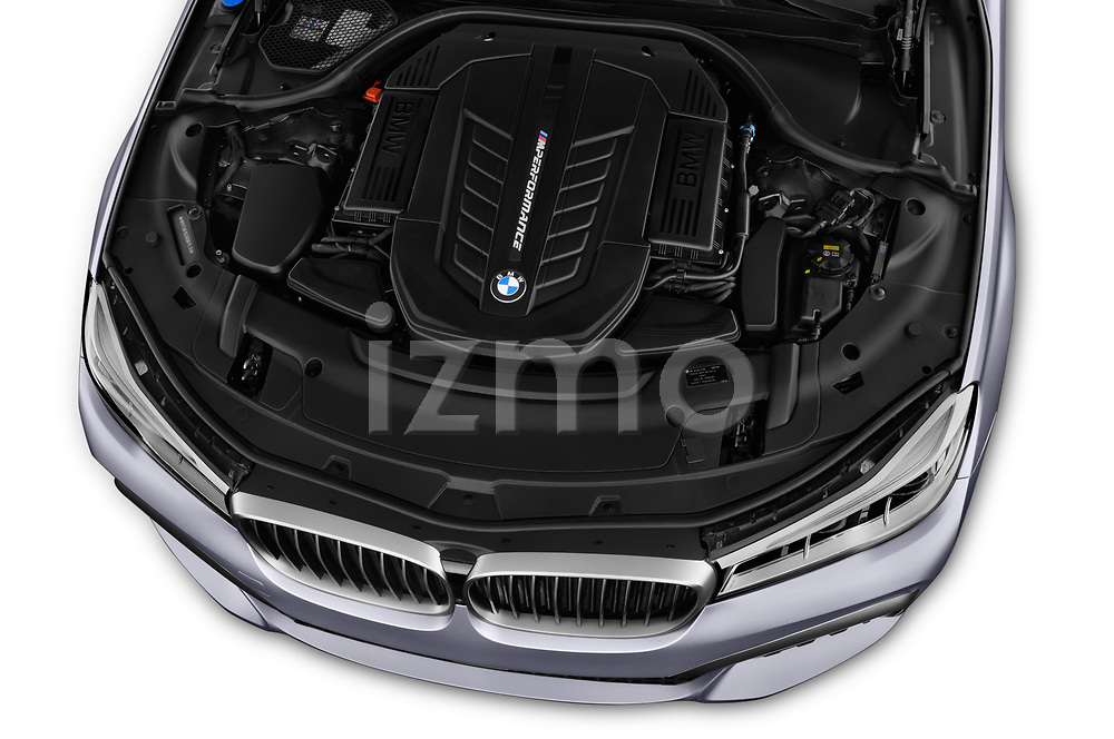 Car stock 2018 BMW 7 Series M760 Li 4 Door Sedan engine high angle detail view