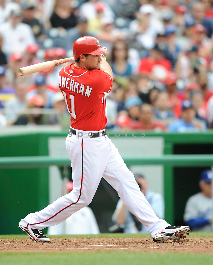 RYAN ZIMMERMAN, of the Washington Nationals, in action during the Nationals game against the Los Angeles Dodgers .The Washington Nationals defeated the Los Angeles Dodgers 1-0 in Major League Baseball action in Washington, D.C. on April 25, 2010. ....