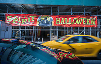 A Spirit Halloween pop-up store in midtown in New York on Wednesday, October 8, 2014. According to the National Retail Federation the average person will spend $77.52 for the holiday. Total Halloween spending is expected to reach $7.4 billion. Landlords who used to resist short-term leases are embracing the concept of pop-ups to get income from empty retail property. (© Richard B. Levine)