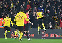 1st January 2020; Vicarage Road, Watford, Hertfordshire, England; English Premier League Football, Watford versus Wolverhampton Wanderers; Abdoulaye Doucoure of Watford celebrates scoring in 48th minute 2-0 - Strictly Editorial Use Only. No use with unauthorized audio, video, data, fixture lists, club/league logos or 'live' services. Online in-match use limited to 120 images, no video emulation. No use in betting, games or single club/league/player publications
