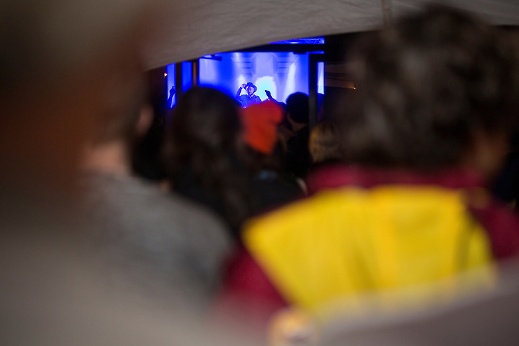 Durham, North Carolina - Thursday May 19, 2016 - Moogfest attendees look on from the line outside Motorco Music Hall as Simeon, of Silver Apples, tips his hat at the end of the set Thursday night during Moogfest in Durham.